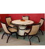 Feng Round Marble Top Six Seater Dining Set in Brown & Beige Colour by Durian