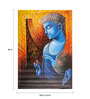 Fizdi Canvas 24 x 0.2 x 36 Inch Blue Buddha with Swan Unframed Art Painting