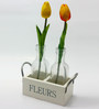 Importwala Fleur Wooden Frame with 2 Glass Vases