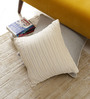 Floor and Furnishings White Cotton 16 x 16 Inch Deco Pleats Cushion Covers - Set of 2