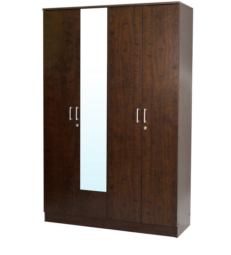 Four door wardrobe with mirror in walnut finish by mintwud for Wardrobe finishes