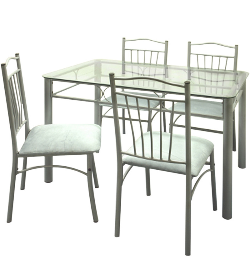 Dining Glass Table Set: Buy Four Seater Dining Set W Glass Top Table By