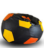 Football Bean Bag Cover XXL size in Black & Orange & Yellow Color by Style Homez