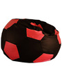 Football Bean Bag (Cover Only) XXL size in Brown & Red Colour  by Style Homez