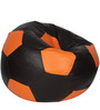 Football XXL Bean Bag Cover without Beans in Black and Orange Colour by Sattva