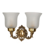 Fos Lighting Brown and White Brass and Glass Wall Light