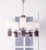 Fos Lighting Brown and White Glass and Wood Chandelier