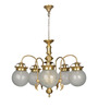 Fos Lighting 5 Light Brass & Glass Etched Globes Chandelier