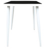 Four Seater Dining Set with Black Glass Top & White Chairs  by Parin