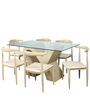 Six Seater Dining Set with Glass Top & Wooden Base by Parin