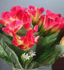 Fourwalls Multicolour Fabric Artificial Mini Lily Flower Bouquet - Set of 2