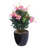 Fourwalls Multicolour Fabric Premium Range Hibiscus Flowers with Vase