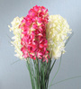 Fourwalls Multicolour Fabric Tall Artificial Hyacinth Flower Stem - Set of 4