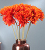 Fourwalls Orange Fabric Tall Artificial Gerbera Flower Stems - Set of 10