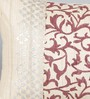 Foyer Cream & Red Silk 12 x 18 Inch Tussar Cushion Cover with Hand Block Printing