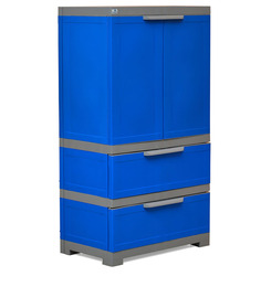 Freedom Multipurpose Cabinet With Two Drawers At Bottom In Deep Blue & Grey Colour By Nilkamal