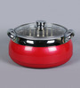 Friends Orchid Red Stainless Steel & Plastic 4 L Casserole with Lid - Set of 2