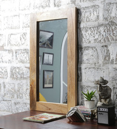 Furniselan Teak Mango Wood Framed Mirror - 1560692