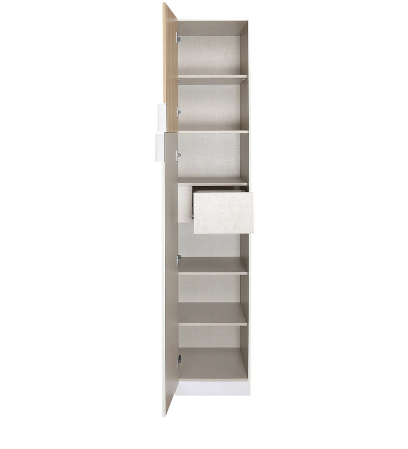 buy fusion single door wardrobe in white colour by home