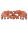 Furncoms Rosewood Wooden Elephant Family Showpiece
