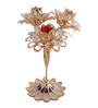 G n G 24K Gold Plated with Swarovski Crystals Triple Daisy Flower Showpiece