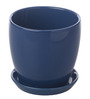 Gaia Blue Glazed Ceramic 6 x 6.5 Inch Table Top Planter with Plate