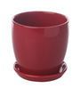 Gaia Red Glazed Ceramic 6 x 6.5 Inch Table Top Planter with Plate
