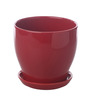 Gaia Red Glazed Ceramic 7 x 7.5 Inch Table Top Planter with Plate