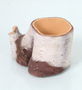 Gaia Woodlike planter - White And Brown
