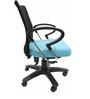 Geneva Desktop Chrome Office Ergonomic Chair in Black & Sky Blue Colour by Chromecraft