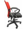 Geneva Desktop Chrome Office Ergonomic Chair in Red & Black Colour by Chromecraft