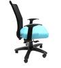 Geneva Desktop WW Black Office Ergonomic Chair in Sky Blue Colour by Chromecraft