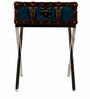 Genuine Leather End Table in Blue Colour by Three Sixty Degree