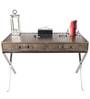 Genuine Leather Study Table in Black Colour by Three Sixty Degree