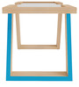 Glass Top Wooden Coffee Table with Blue Accent by SmalShop