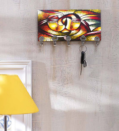 Go Hooked MDFCHABIX-78 Multicolor Abstarct Print Key Holder