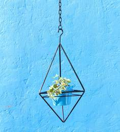 Green Gardenia Iron Hanging Triangle Stand With Metal Planter-Light Blue