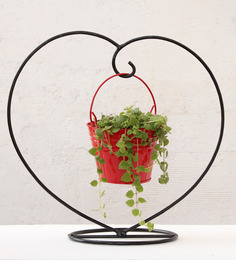 Green Gardenia Red Iron Heart Table Top Stand With Metal Bucket