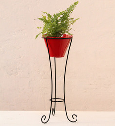 Green Gardenia Red Iron Large Pot Stand With Metal Pot