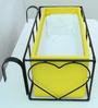 Green Gardenia Iron Heart design railing planter with Wooden Box-Yellow