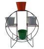 Green Gardenia Iron Hoop Round Pot Stand with 4 Tri Colour Metal Planters