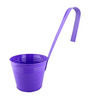 Green Gardenia Purple Metal Railing Bucket with Large Handle Planter