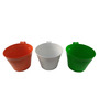 Green Gardenia Railing Hang Plain Tri-Colour Buckets - Set of 3