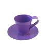 Green Gardenia Table Top Purple Metal Cup and Saucer Pot