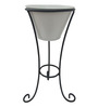 Green Gardenia White Metal and Iron Large Pot Stand with Pot