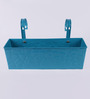 Green Girgit Rectangular Blue Floral Pattern Metal Pot Planter