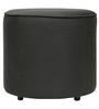 Greta Faux Leatherette Round Premium Ottoman in Black Colour by SIWA Style