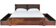 Morton Queen Bed with Storage in Provincial Teak Finish by Woodsworth