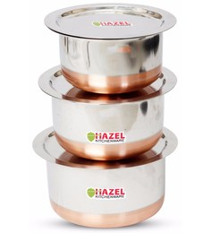 Hazel Copper Bottom Stainless Steel Tope With Lid - Set Of 3