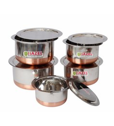 Hazel Copper Bottom Stainless Steel Tope With Lid - Set Of 5